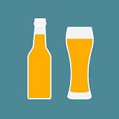 Glass of beer and bottle flat icon. Symbol Template Logo. Vector isolated illustration.