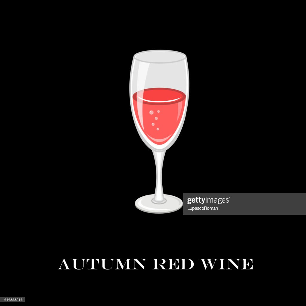 Glass of red wine. Autumn time. Vector Illustration. : Vector Art