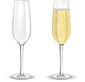Glass of sparkling wine. Champagne with bubbles.  Vector illustration isolated on white background.