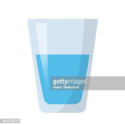 glass of water flat design : stock vector