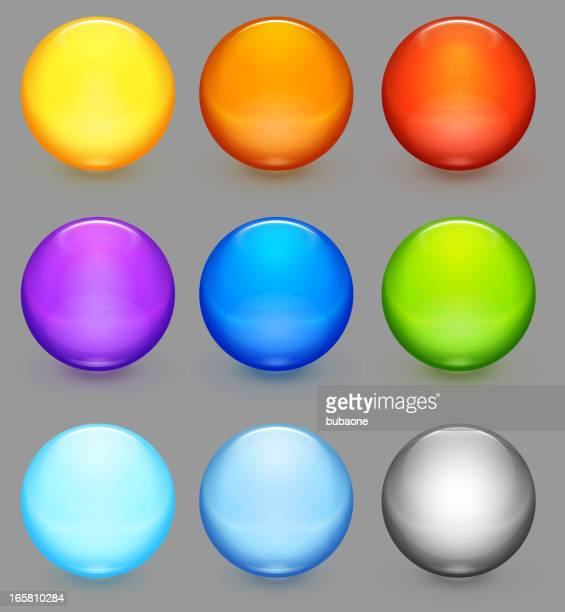 Glass orb buttons royalty free vector set of nine icons