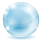 Glass sphere. Blue transparent glass ball. Vector isolated on white background. Illustration.