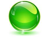 Glass sphere, green 3D vector ball.
