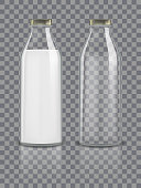 Glass traditional bottles mockup empty and with milk. Dairy product packaging isolated on transparent background. Healthy beverage glass bottle with milk drink. vector illustration EPS 10