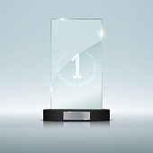 Glass Trophy Award on black podium. Vector illustration