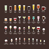 Glass types with titles, flat icons set, vector illustration.