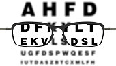 Vector illustration with glasses and vision check, ophthalmology