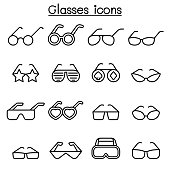 Glasses icon set in thin line style