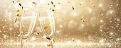 Glasses of champagne on light background with confetti. Vector illustration