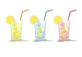 Glasses of lemonade, pink lemonade and blue water with lemons. Three glasses of lemon cocktails with straw. Vector illustration  isolated on white background