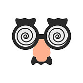 Glasses spiral with nose and mustache for party. April fool's day stuff