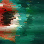 Glitch abstract background with distortion effect, random horizontal orange and green color lines for design concepts, posters, wallpapers, presentations and prints. Vector illustration.