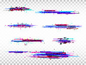 Glitch color elements set. Digital noise abstract design. Color pixel glitch. Modern bug effect. Noise texture. Vector illustration.