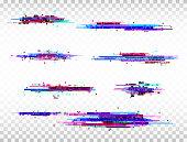 Glitch color elements set. Digital noise abstract design. Color pixel glitch. Modern bug effect. Noise texture. Vector illustration.