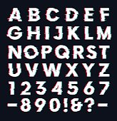 Glitch font with distortion effect vector letters and numbers, dark background