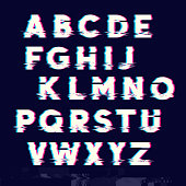 Glitch displacement type letters with fault lines. Vector illustration