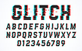 Trendy style distorted glitch typeface. Letters and numbers vector illustration.