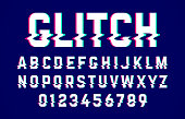 Trendy style distorted glitch font. Letters and numbers vector illustration.