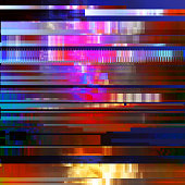 Glitched abstract vector background made of colorful pixel mosaic. Digital decay, signal error, television signal fail. Colorful trendy design for print poster, brochure cover, website and other desig