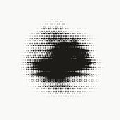 Abstract vector glitched halftone stain. Black blot made of round particles. Modern illustration with dark, distorted spot. Splattered array of dots.