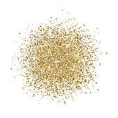 Glitter background. Gold glitter splash on white background. Bright dust sparkle. Golden design for card, web banner, poster, print, wallpaper. Vector illustration.