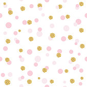 Glitter confetti polka dot seamless pattern background. Golden and pastel pink trendy colors. For birthday, valentine and scrapbook design.