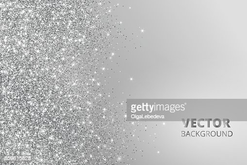 Glitter confetti, snow falling from the side. Vector silver dust, explosion on grey background. Sparkling border, frame : Vector Art