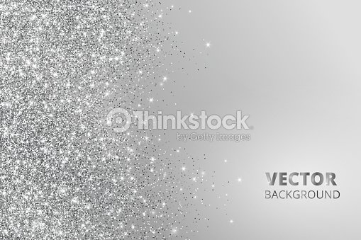 Glitter confetti, snow falling from the side. Vector silver dust, explosion on grey background. Sparkling border, frame : stock vector