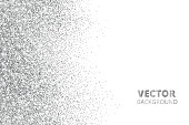 Glitter confetti, snow falling from the side. Vector silver dust, explosion isolated on white. Sparkling border, frame. Great for wedding invitations, party posters, Christmas and birthday cards.