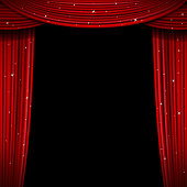 Glittering red curtain vector illustration. Open glitter curtains background. Curtain for exhibition and theatre interior, premiere screen with curtains