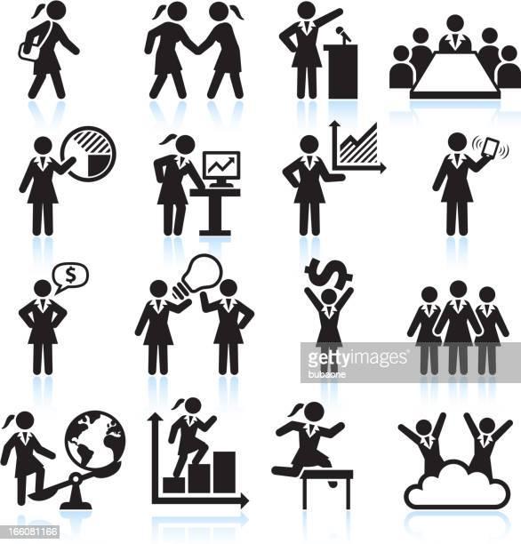 Global Geschäftsfrau-Team Vorlage schwarz und weiß, Vektor icon-set