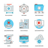 Thin line icons of big data storage protection, cloud computing information service, technical support, network connection. Modern flat line design element vector collection  illustration concept.