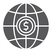 Global glyph icon, planet and world, globe sign, vector graphics, a solid pattern on a white background, eps 10.