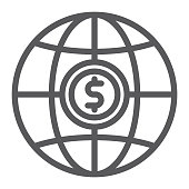 Global line icon, planet and world, globe sign, vector graphics, a linear pattern on a white background, eps 10.