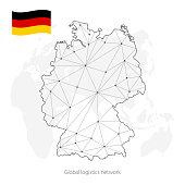 Global logistics network concept. Communications network map of Germany on the world background. Map Federal Republic of Germany with nodes in polygonal style and flag. Vector illustration EPS10.