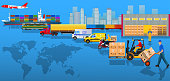 Global logistics network. Flat vector illustration. Air cargo trucking, rail transportation, maritime shipping, warehouse, freight, delivery man, container ship. Vehicles designed to carry large numbe