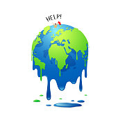 Global Melting, concept global warming, people help in the sea, vector illustration