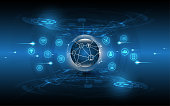 Global network connection abstract technology background global business innovation concept