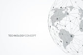 Global network connections with points and lines. Internet connection background. Abstract connection structure. Polygonal space background. Vector illustration.