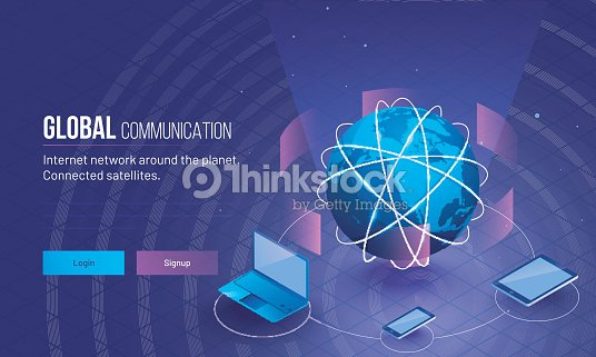 Global network or Communication concept based responsive landing page design with 3D illustration of earth planet connected with three digital device. : stock vector
