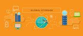 Global storage design flat concept. Global and storage, internet technology, cloud global information, communication digital storage, global data, connection global, web global storage illustration