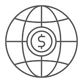 Global thin line icon, planet and world, globe sign, vector graphics, a linear pattern on a white background, eps 10.