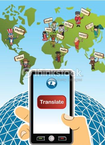 Traducir aplicacin mundial mapa mundial mano humana con smartphone traducir aplicacin mundial mapa mundial mano humana con smartphone la composicin arte vectorial gumiabroncs Choice Image