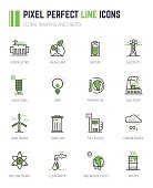 Set of pixel line icons. Alternative energy sources icons. Global warming and climate change concept. Sustainable energy.