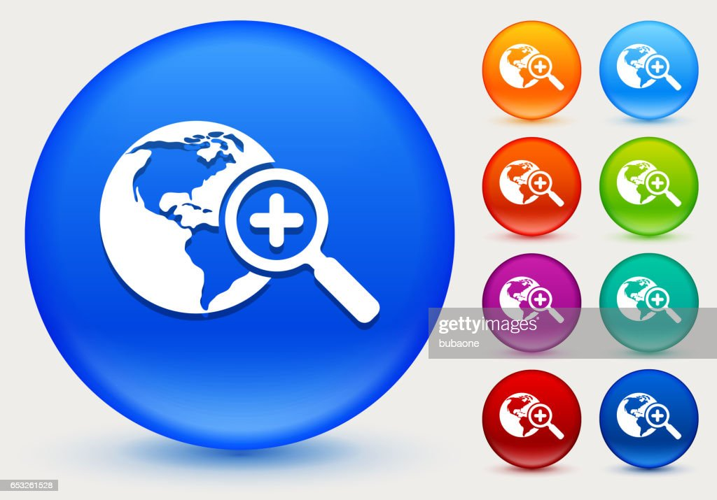 Globe and Magnifying Glass Icon on Shiny Color Circle Buttons : Vector Art