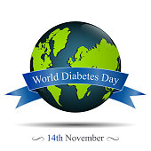 Vector illustration of Globe and reminder date of world diabetes day