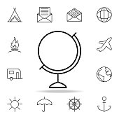 globe icon. Element of simple icon for websites, web design, mobile app, info graphics. Thin line icon for website design and development, app development on white background on white background