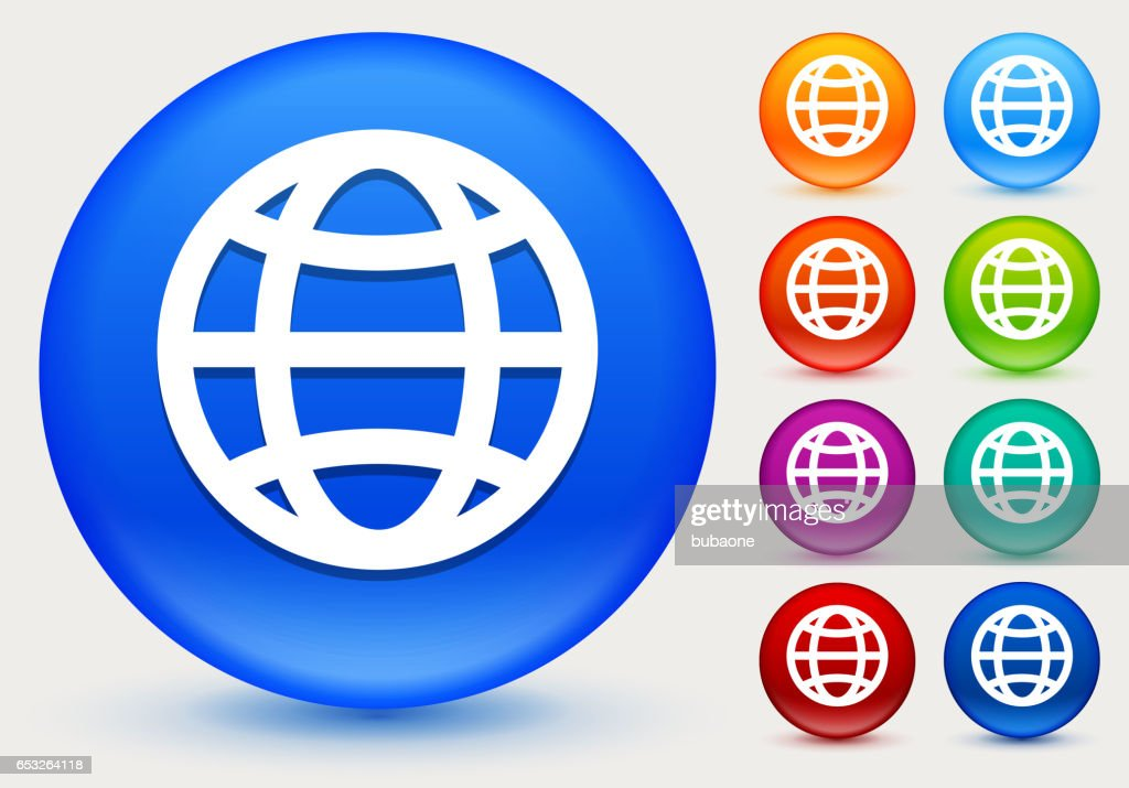 Globe Icon on Shiny Color Circle Buttons : Vector Art