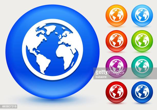 Globe Icon on Shiny Color Circle Buttons