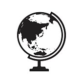 Globe icon vector with Asia and Australia map. Flat icon isolated on the white background. Vector illustration.
